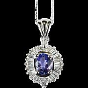 Genuine Tanzanite Diamond Necklace 585 14k Gold ADL Pendant Box Chain