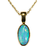 Natural Solitaire Black Opal Necklace 14k Gold Opal Pendant Link Chain