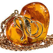 Russian Baltic Amber Heart Pendant Michael Anthony Rose Gold 14k Gold Chain Necklace