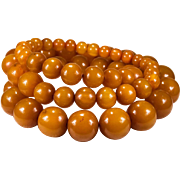 SALE Opera Length Natural Butterscotch Amber 23mm Beaded Necklace
