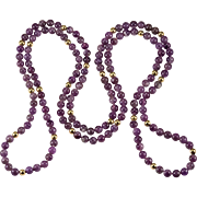 Opera Length Natural Amethyst Bead 14k Gold Hand Knotted Beaded Strand Necklace