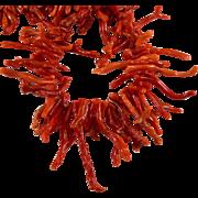 "Natural Mediterranean Red Branch Coral 20"" 14k 1/20 GF Necklace"