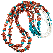 """Natural Spiny Oyster Turquoise Heishi Bead Sterling Silver 26"""" Double Strand Necklace"""