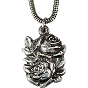 Secret Roses Slide Pendant 925 Sterling Silver Snake Chain Religious Miraculous Medal Necklace