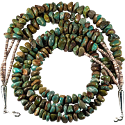 Vintage Navajo Natural Royston Turquoise Three Strand Beaded Necklace