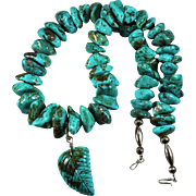 Huge Turquoise Strand Sterling Carved Leaf Vintage Native American Necklace