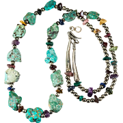 Natural Turquoise Nugget Mixed Gemstone Sterling Silver Bead Necklace