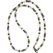 Suffragette Necklace Amethyst Peridot Pearl Sterling Silver 925 Strand