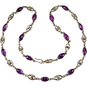 15ctw Natural Amethyst Sterling Silver Necklace Purple Amethyst Chain Bezel Set Gemstone Chain