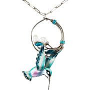 Enamel Hummingbird Pearl 925 Sterling Paperclip Chain Necklace