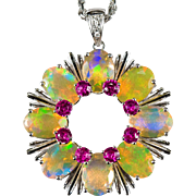 Natural Yellow Fire Opal Pink Tourmaline Diamond Pendant 18k Gold Circle Opal Pendant Necklace
