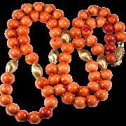 """SALE Vintage Natural Mediterranean Coral 30"""" 10k Gold Beaded Necklace Strand"""