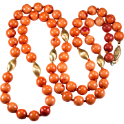 "Vintage Natural Mediterranean Coral 30"" 10k Gold Beaded Necklace Strand"
