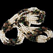 SALE Opera Length Tourmaline Freshwater Pearl Necklace 585 14k Gold 5 Strand