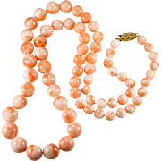 """SALE Natural Angel Skin Coral 14k Gold 24"""" Beaded Strand Coral Necklace"""