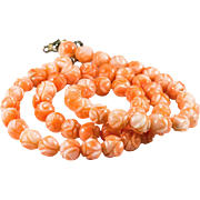 Natural Angel Skin Coral Hand Carved Roses Strand Necklace