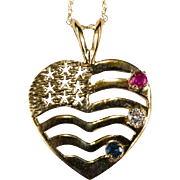 USA Flag Heart Ruby Diamond Sapphire 14k Gold Pendant Necklace Patriotic Jewelry