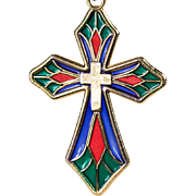 Stained Glass Plique A Jour Cross Pendant 14k Gold Michael Anthony Necklace
