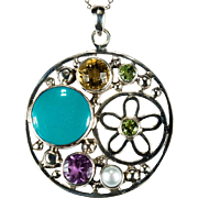 Turquoise Amethyst Citrine Peridot Moon Flower 925 Sterling Silver Necklace