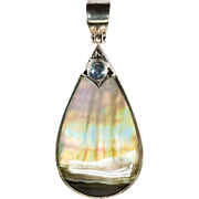 Rainbow Oyster Moonstone 925 Sterling Silver Pendant