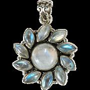 Natural Blue Rainbow Moonstone Sun 925 Sterling Silver Pendant