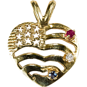 USA Flag Heart Ruby Diamond Sapphire 14k Gold Pendant