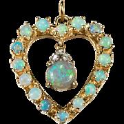 SALE Natural Opal Diamond Heart Pendant 14k Gold Pendulum Opal Heart