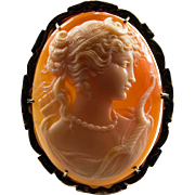 Diana Artemis Greek Goddess Shell Cameo 14k Gold Signed Hand Carved Pendant Brooch