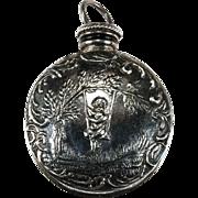SALE Swinging Cherub Perfume Bottle Pendant Sterling Silver Double Sided Bottle