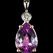 Natural Amethyst Diamond Pendant 14k Gold Pear Cut Amethyst Pendant