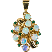 Vintage 1.68ctw Natural Opal Emerald Pendant 14k Gold Cluster Opal Pendant
