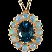 Natural Opal London Blue Topaz 14k Gold Pendant