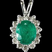 Genuine Solitaire Emerald Natural Diamond Halo 14k Gold Pendant