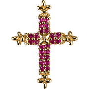 Vintage Fleur De Lis Ruby Diamond Cross 14k Gold Diamond Ruby Pendant