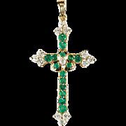 Vintage Emerald Diamond Cross 14k Gold Religious Emerald Cross Pendant