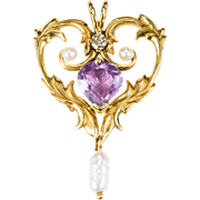 Heart Amethyst Diamond Pearl Pendant 585 14k Gold Slide Heart Pendant