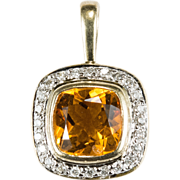 Citrine Diamond Pendant 14k Gold