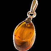 SALE Natural Russian Baltic Amber 14k 583 Rose Gold Teardrop Pendant