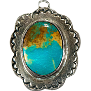 SALE Natural Royston Turquoise Sterling Silver Hand Crafted Pendant