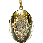 German Etched Opening Photo Locket Pendant 14k Gold