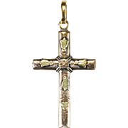 Antique Hand Crafted Cross 18k Two Tone Rose Yellow Gold Sterling Pendant