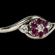Adorable Bypass Ruby Diamond Flower Ring 18k .53ctw
