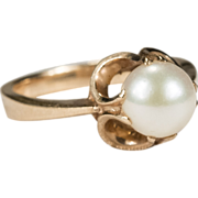 Perfect Russian Cultured Pearl Solitaire 583 14k Rose Gold Ring