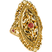 SALE Exotic Flower Filigree Enamel Ring 21k Gold