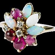 Natural Pink Tourmaline Opal Ring 585 14k Gold Fire Opal Diamond Ring