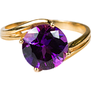 3.50ctw Solitaire Natural Amethyst Ring 19k Gold