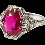 Lovely Art Deco Lab Ruby 14k Gold Filigree Ring