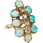 Natural Opal Diamond Ring 14k Gold Cocktail Cluster Opal Ring