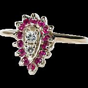 SALE Genuine Diamond Ruby Ring 14k Gold Ruby Halo Diamond Ring
