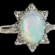 Natural Opal Diamond Ring 14k Gold 2.63ctw Diamond Halo Fire Opal Ring